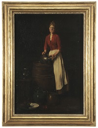 maid washing at a barrel by louis mettling