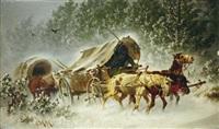 winterlandschaft mit pferdefuhrwerken by carl heinrich hoffmann
