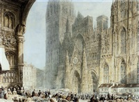 market day before rouen cathedral by frederick nash