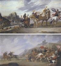 a cavalry skirmish in a rocky landscape by j. bleker