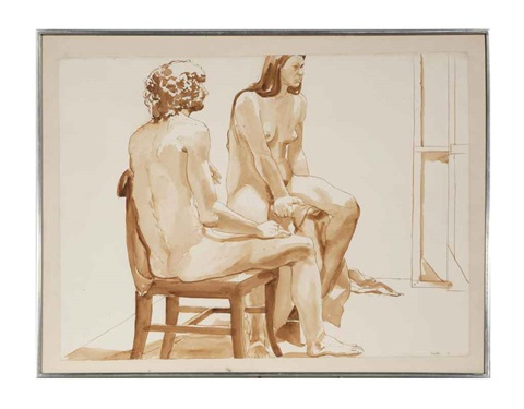 two seated nudes by philip pearlstein