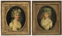 portrait of a young lady in a white dress (+ portrait of a young lady; 2 works) by john russell