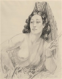 untitled (rita with mantilla) by norman alfred williams lindsay