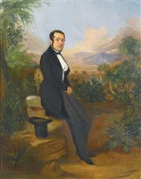 portrait of george hellmann before a vista in tacna, peru by johann moritz rugendas