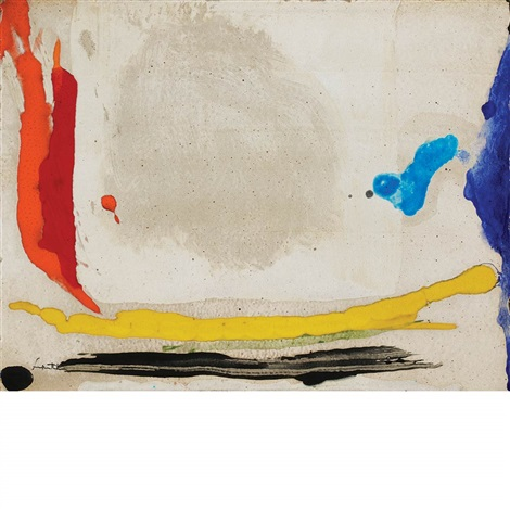 untitled abstract composition blue red and yellow by helen frankenthaler