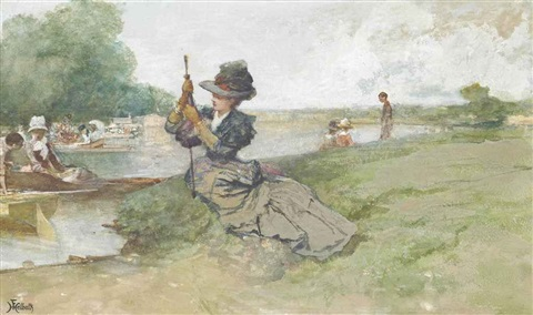 boating on the river by ferdinand heilbuth