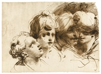 a capriccio with four head studies, including two orientals by gaetano gandolfi