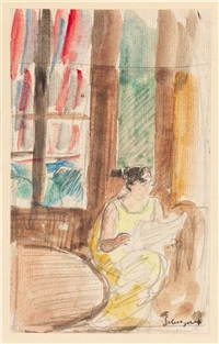 reading by the window by henri lebasque