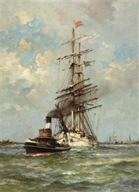 tall-ship on the ij at amsterdam by jan van der linde