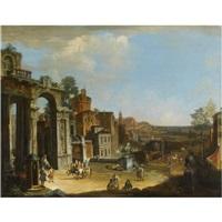 capriccio architettonico con città di fantasia by francesco battaglioli