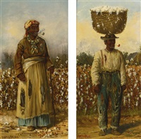 a walk in the cotton and man with basket: a pair of paintings by william aiken walker