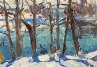 winter landscape: frozen river by nicolas gorov