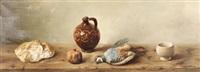 bodegón de pan, granada y ave by luis aldehuela