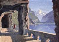 schweizer see mit blick auf gletscher by leonore (leo) hiller-baumann