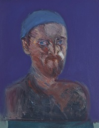 self portrait with blue hat and archive material by brian bourke