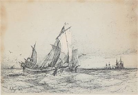 seascapes with sailing ships 3 works various sizes by daniel hermann anton melbye