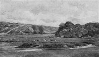 bergère et son troupeau près du cours d'eau by françois edouard bournichon
