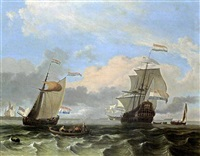 a man-of-war and a states yacht together with other sailing vessels in a stiff breeze, a rowing boat with fishermen in the foreground by hendrik rietschoof