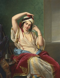a harem beauty at her toilette by paul emil jacobs