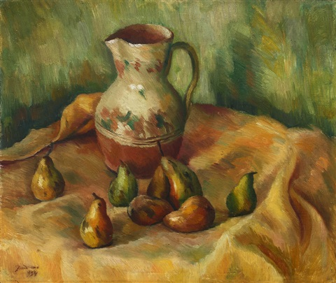 still life with pears by dan ialomiteanu