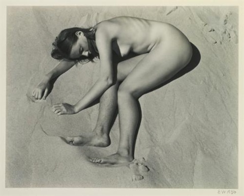 nude on sand asleep by edward weston