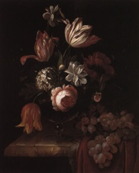 tulips, roses and other flowers with a bunch of grapes on a draped ledge by anna elisabeth ruysch