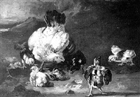 a mother hen with her chickens by frederik willem zurcher