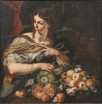 figura femminile con composizione di frutta e fiori su uno sfondo di paesaggio by abraham brueghel
