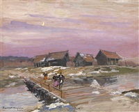 at the river nerl. early spring by konstantin alexeievitch korovin