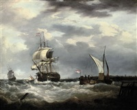 a dutch emigrant ship dropping the pilot and leaving her homeland astern by george webster