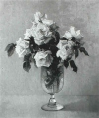 white roses in a glass vase by john ernest foster