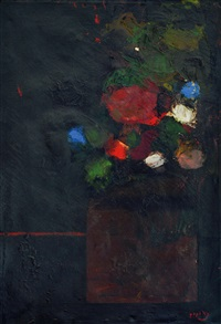 flowers in a vase by popo iskandar