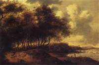 a wooded river landscape with a shepherd and his flock on a path, a fortified house and mountains beyond by pieter cosyn