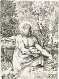 saint jerome in the wilderness (+ three engravings and etchings by, after or attributed to hopfer, del sarto and poussin) by annibale carracci