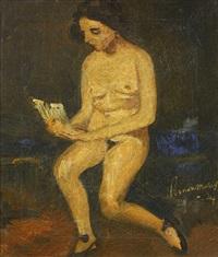 sitzender, lesender frauenakt by simon maris
