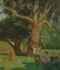 scene in botanical gardens by rupert bunny