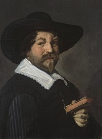 portrait d'homme tenant un livre by frans hals the elder