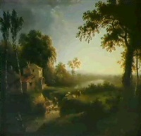 river landscape with cattle by a watermil by william ashford