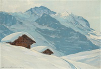 le jungfrau, vue de la petite sheidegg by charles henry contencin