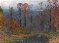 hill top pond at dusk by john joseph enneking