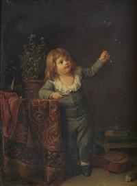 un enfant qui joue avec des bulles de savon by marc antoine bilcoq