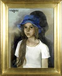 jeune fille au chapeau bleu by ramón aguilar moré