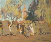 marrakech, le marché aux herbes et la koutoubia by jean dulac