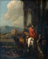 homme à cheval saluant un pèlerin by abraham danielsz hondius