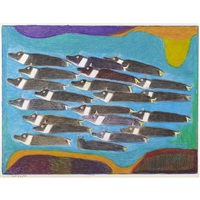 untitled (caribou crossing the river) by janet kigusiuq