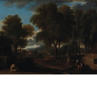 italianate landscape with a monk and peasants by a fountain by sébastien bourdon