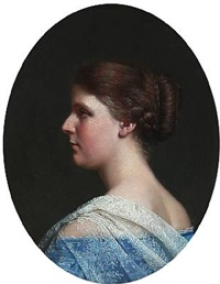 portrait of a woman in profile by vilhelm (johan v.) gertner
