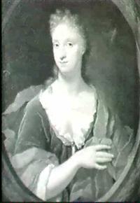 portrait d'une jeune femme dans un manteau orange vue a   travers un encadrement by jan van wyckersloot