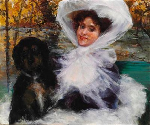 elegant lady with her dog in the woods autumn by giovanni boldini