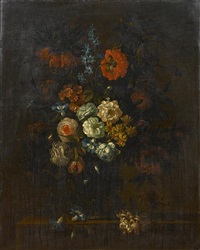 roses, chrysanthemums, convolvulus, and other flowers in a glass vase by antoine monnoyer